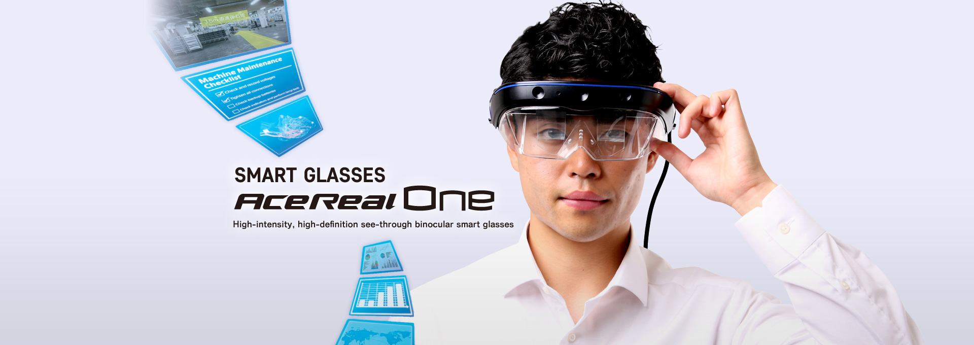 SMART GLASSES AceReal One High-intensity, high-definition see-through binocular smart glasses